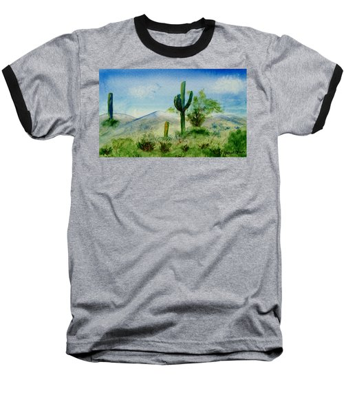 Blue Cactus Baseball T-Shirt by Jamie Frier