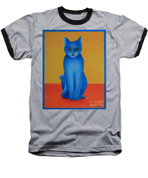 Baseball T-Shirt featuring the painting Blue Cat by Pamela Clements