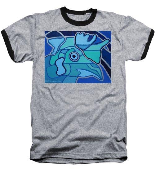 Blue Chicken Abstract Baseball T-Shirt
