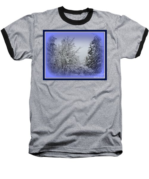Blue Christmas Baseball T-Shirt by Leone Lund