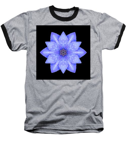 Blue Clematis Flower Mandala Baseball T-Shirt by David J Bookbinder