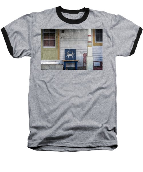Blue Crab Chair Baseball T-Shirt by Brian Wallace