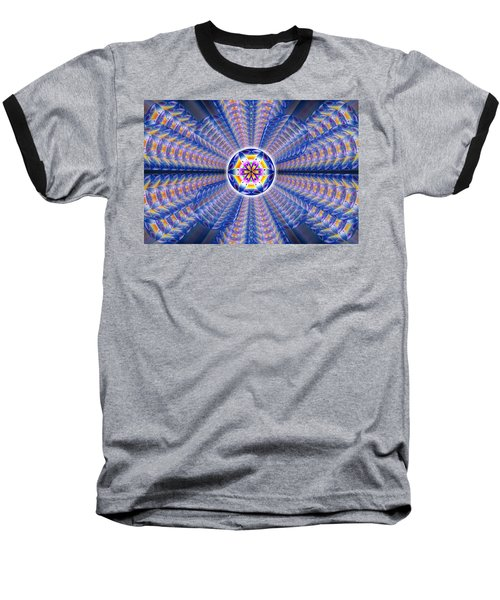 Baseball T-Shirt featuring the drawing Blue Crystal Consciousness by Derek Gedney