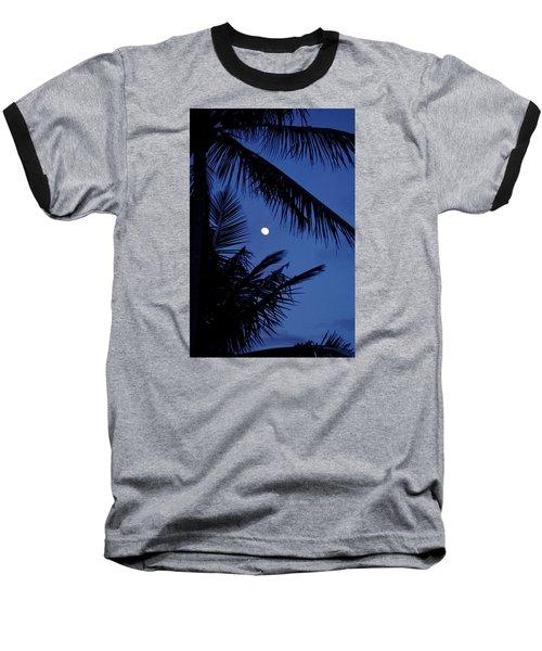 Blue Dawn Moon Baseball T-Shirt by Lehua Pekelo-Stearns