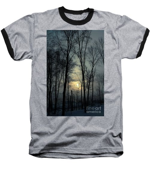 Blue Daybreak Baseball T-Shirt by Karol Livote