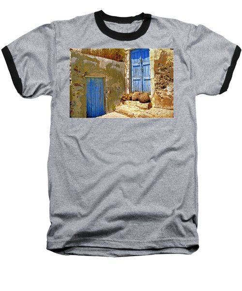 Blue Doors Of Santorini Baseball T-Shirt by Madeline Ellis