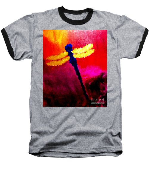 Baseball T-Shirt featuring the painting Blue Dragonfly No 2 by Anita Lewis