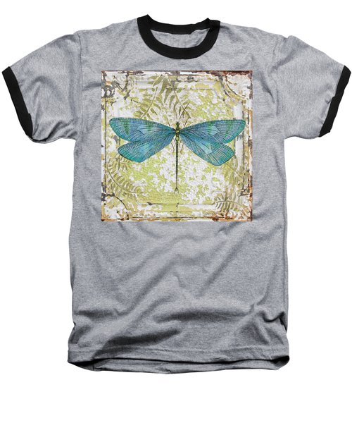 Blue Dragonfly On Vintage Tin Baseball T-Shirt by Jean Plout