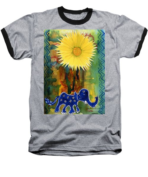 Baseball T-Shirt featuring the painting Blue Elephant In The Rainforest by Mukta Gupta