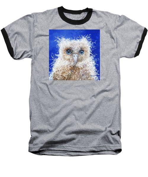 Blue Eyed Owl Painting Baseball T-Shirt