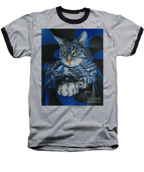 Baseball T-Shirt featuring the painting Blue Feline Geometry by Pamela Clements