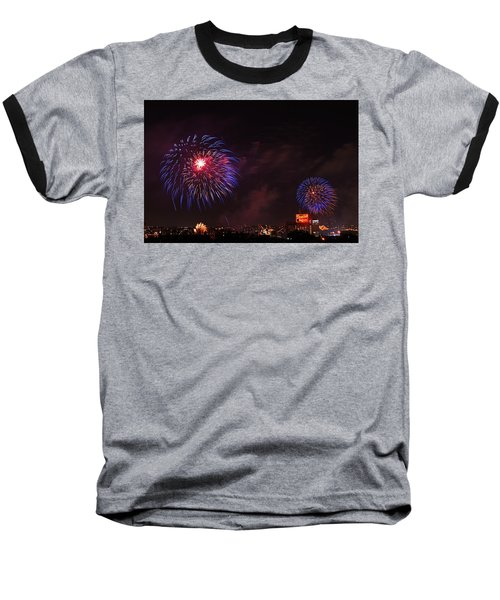 Blue Fireworks Over Domino Sugar Baseball T-Shirt