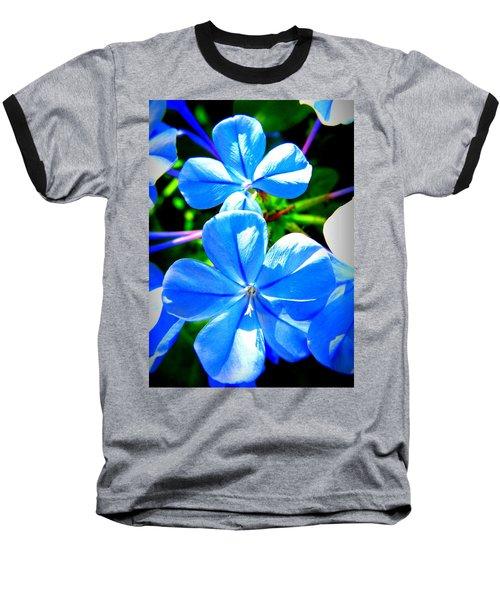 Blue Flower Baseball T-Shirt by David Mckinney