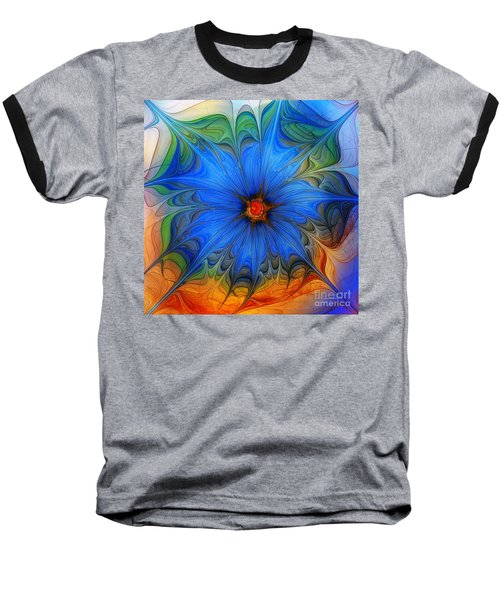 Blue Flower Dressed For Summer Baseball T-Shirt by Karin Kuhlmann