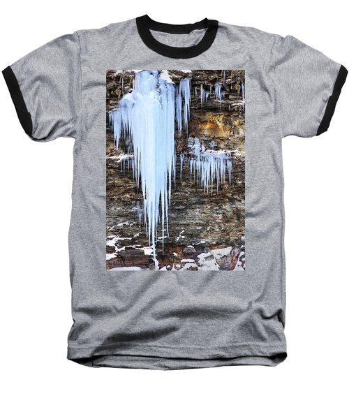 Blue Frozen Icicle Stalactites Baseball T-Shirt