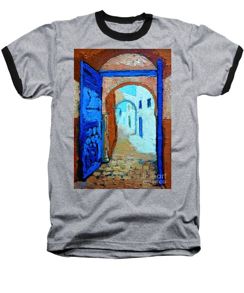 Baseball T-Shirt featuring the painting Blue Gate by Ana Maria Edulescu
