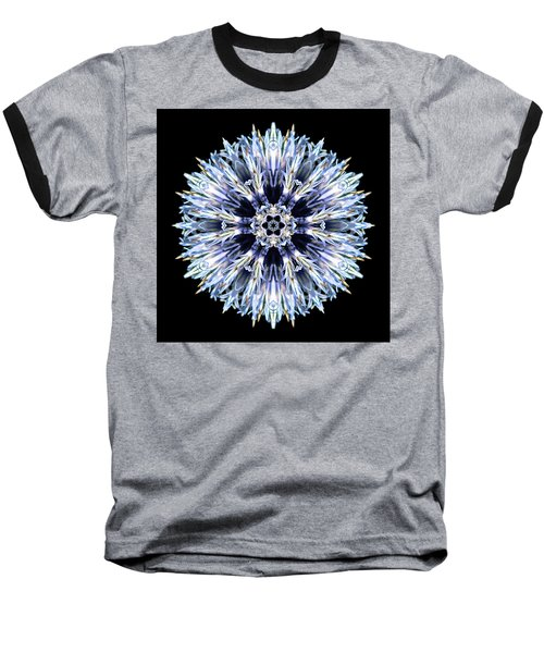 Blue Globe Thistle Flower Mandala Baseball T-Shirt by David J Bookbinder