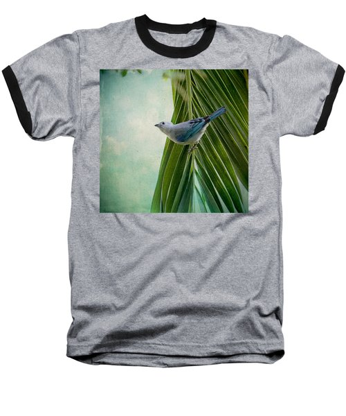 Blue Grey Tanager On A Palm Tree Baseball T-Shirt