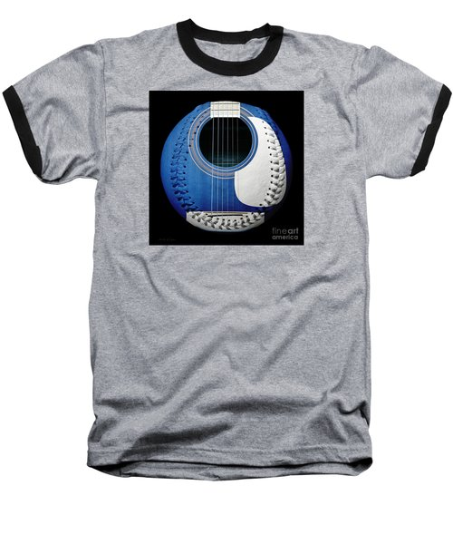 Baseball T-Shirt featuring the photograph Blue Guitar Baseball White Laces Square by Andee Design