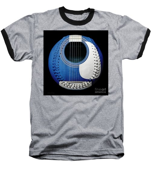 Blue Guitar Baseball White Laces Square Baseball T-Shirt