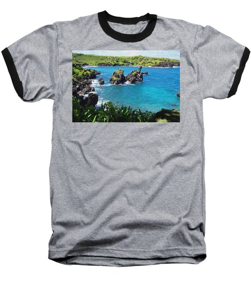 Blue Hawaiian Lagoon Near Blacksand Beach On Maui Baseball T-Shirt by Amy McDaniel