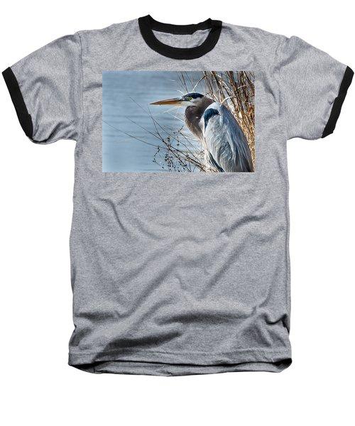 Blue Heron At Pond Baseball T-Shirt