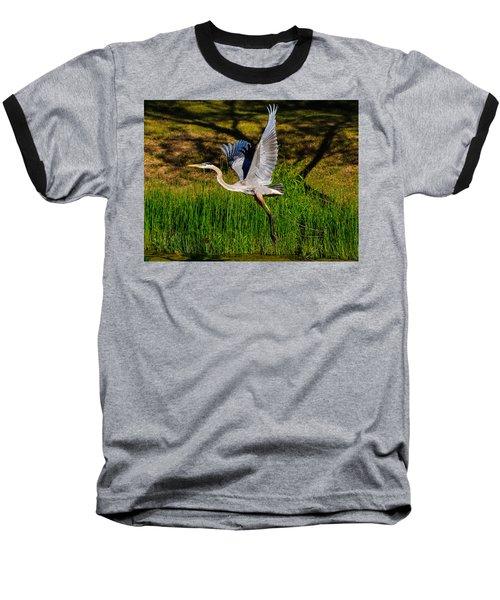 Blue Heron In Flight Baseball T-Shirt