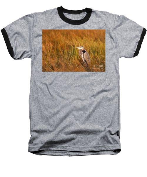 Baseball T-Shirt featuring the photograph Blue Heron In Louisiana Marsh by Luana K Perez