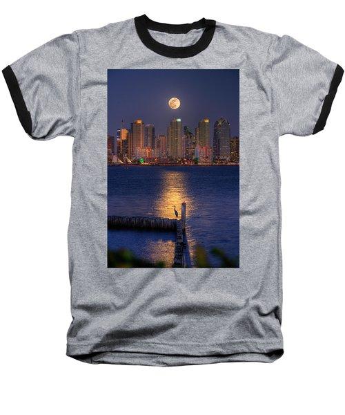 Blue Heron Moon Baseball T-Shirt