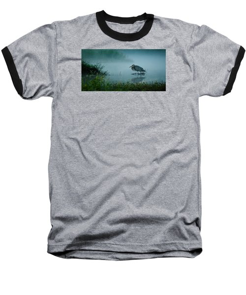 Blue Heron Morning Baseball T-Shirt by Deborah Smith