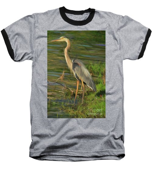 Blue Heron On The Bank Baseball T-Shirt