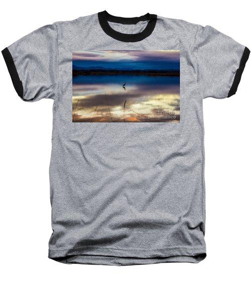 Blue Heron Sun Set Baseball T-Shirt