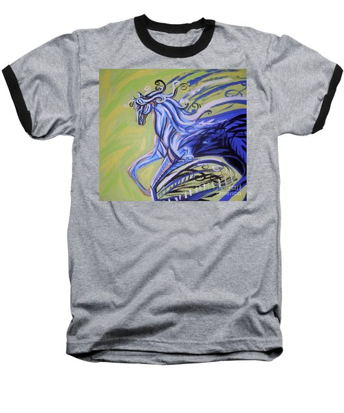 Blue Horse Baseball T-Shirt