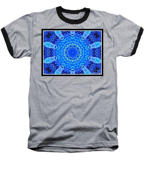 Blue Hydrangeas Flower Kaleidoscope Baseball T-Shirt by Rose Santuci-Sofranko
