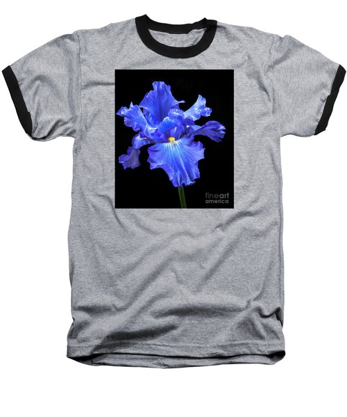 Blue Iris Baseball T-Shirt by Robert Bales