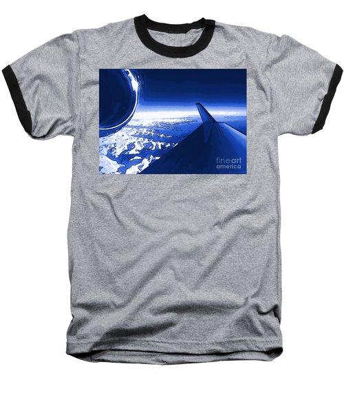 Blue Jet Pop Art Plane Baseball T-Shirt