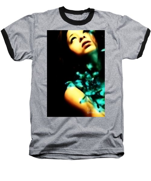 Baseball T-Shirt featuring the photograph Blue Lights by Jessica Shelton
