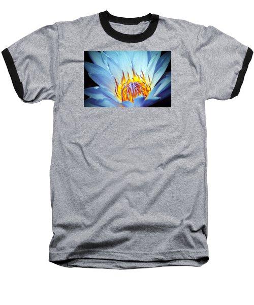 Blue Lotus Baseball T-Shirt by Cynthia Guinn