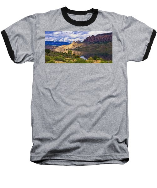 Blue Mesa Reservoir Digital Painting Baseball T-Shirt