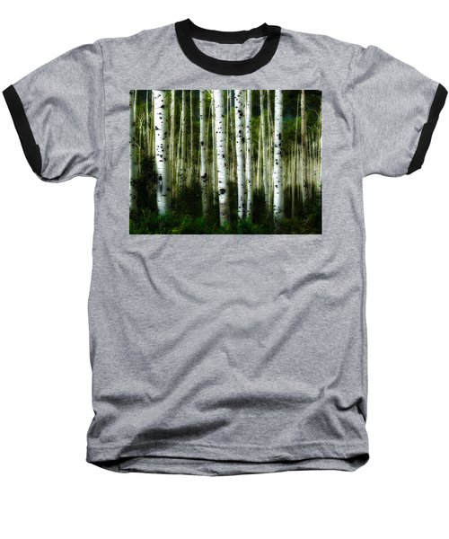 Baseball T-Shirt featuring the photograph Blue Mood Aspens I by Lanita Williams