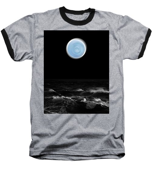 Blue Moon Over The Sea Baseball T-Shirt