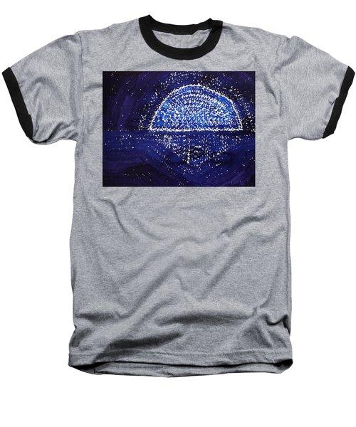 Blue Moonrise Original Painting Baseball T-Shirt