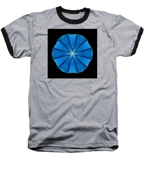 Blue Morning Glory Flower Mandala Baseball T-Shirt by David J Bookbinder