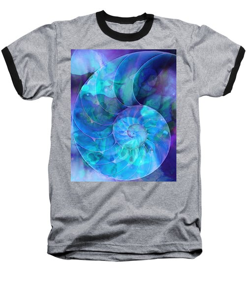 Blue Nautilus Shell By Sharon Cummings Baseball T-Shirt
