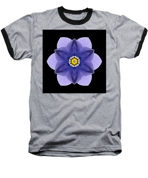Blue Pansy I Flower Mandala Baseball T-Shirt by David J Bookbinder