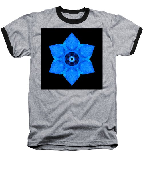 Blue Pansy II Flower Mandala Baseball T-Shirt by David J Bookbinder
