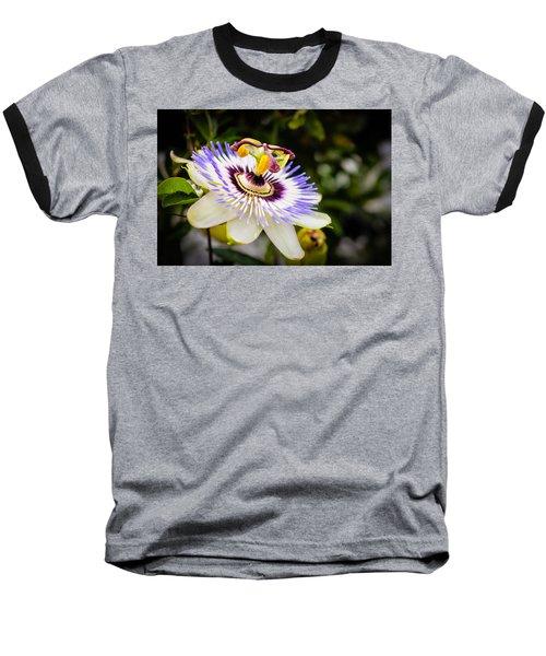 Blue Passion Flower Baseball T-Shirt