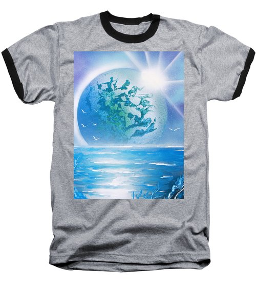 Baseball T-Shirt featuring the painting Blue Moon by Greg Moores