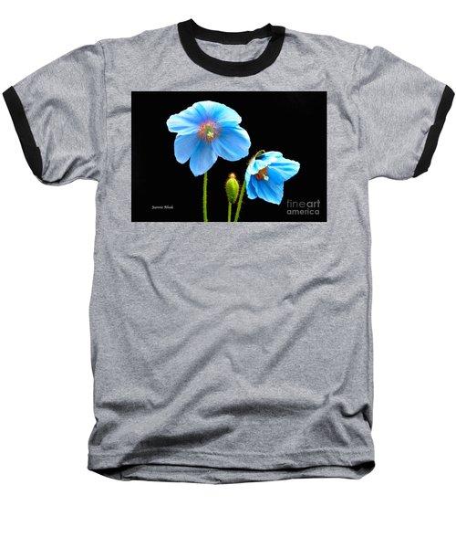 Blue Poppy Flowers # 4 Baseball T-Shirt