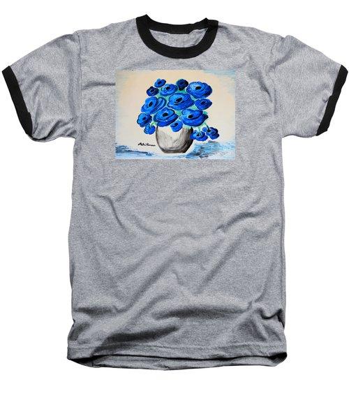 Blue Poppies Baseball T-Shirt by Ramona Matei